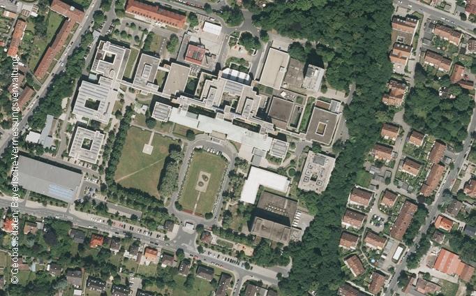 Neubau einer psychiatrischen Fachklinik, Fürth, Luftbild